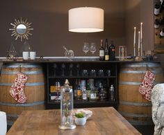 DIY materials can make great furniture pieces to reflect personal style, like this easy-to-make custom wine bar #DIY