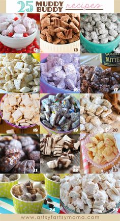 25 Muddy Buddy Recipes at www.artsyfartsymama.com #muddybuddies