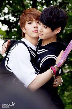 Jin: Let me hug you for the camera! Kookie: Okay?..