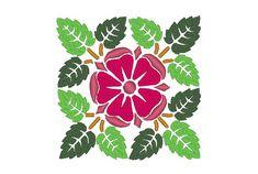 Medieval Rose Poppy Tudor Square Embroidery Machine Design