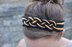 Black & Gold Braided T-Shirt Headband via Etsy