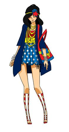 """sarahthisis: """"Wonder Woman inspired fashion design by Rinri. Check out all their superhero fashion designs, including Robin, Black Canary & Miss Martian, on Geek Tyrant. Wonder Woman, Fashion Art, Fashion Outfits, Fashion Design, Woman Fashion, Geek Fashion, School Fashion, Street Fashion, Fashion News"""