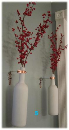 Hanging Vases from Wine Bottles - My Homemade Home Wine Craft, Wine Bottle Crafts, Wine Bottles, Diy Bottle, Wine Decor, Vases Decor, Hanging Vases, Wall Vases, Diy Art