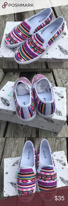🆕List! Neon Aztec Print Sneakers!! NIB! White with bright neon print! Easy slip-on styling. NEW! Shoes Athletic Shoes