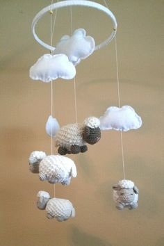 Crocheted Baby Crib Mobile / Sheep / Lambs / Nursery / Clouds / Baby Shower Gift…