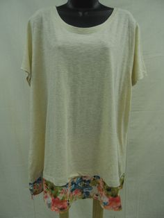Plus Size 2X STRETCH Top 100% COTTON Shirt SHEER BOTTOM Trendy LONG LENGTH NWT #StJohnsBay #KnitTop