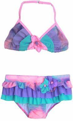 74d728d70 Isobella & Chloe Watercolor Pink/Purple/Aqua Two Piece Ruffle Swimsuit