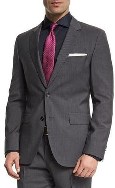 Boss Hugo Boss Johnstons Lennon Fine-Striped Slim-Fit Basic Two-Piece Suit, Gray