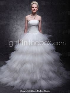 Tulle Over Satin Ball Gown Sweep/Brush Train Tiered Wedding Dress inspired by Mandy Moore in License to Wed - GBP £ Cheap Wedding Dresses Online, 2015 Wedding Dresses, Bridesmaid Dresses, Gown Wedding, Tulle Wedding, Formal Wedding, Wedding Ceremony, Mandy Moore, Beautiful Wedding Gowns