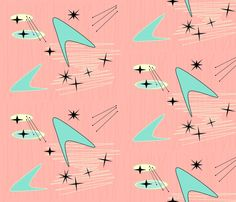 Mid Century Fabric - Atomic Boomerang Starburst - Pale Pink By Lillierioux - Modern Geometric Cotton Fabric By The Yard With Spoonflower Mid Century Art, Mid Century Style, Mid Century Modern Design, Mid Century Modern Fabric, Creation Image, Motifs Textiles, Retro Wallpaper, Graphic Wallpaper, Wallpaper Ideas