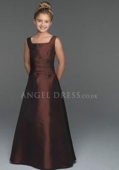 Princess Square Taffeta Dropped Floor Length Sleeveless Junior Dress