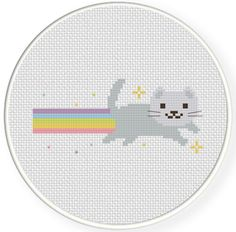 Free Rainbow Cat Cross Stitch Pattern. #cats #cross_stitch #patterns