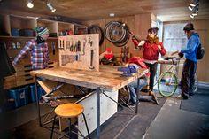 Bike-shop Design Ideas, Pictures, Remodel, and Decor - Workshop Bicycle Cafe, Bicycle Shop, Bike Store, Coffee Shop Design, Cafe Design, Bike Room, Performance Bike, Cool Bikes, Workshop