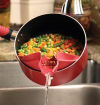 Silpoura - clip on spout/strainer that pours with precision.