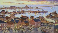 Artist: Richard Burke Jones Title: Lower Main Street, Steamboat Wharf and Beyond, Nantucket 1880's Media: oil on canvas Size: 28 X 48 inches Framed Size: 36 X 55.25 inches Estimate: $20,000-$24,000