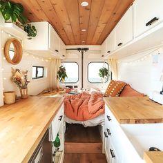 Van Conversion Interior, Van Interior, Bus Life, Camper Life, Vw Camper Bus, Bus Living, Tiny Living, Casas Trailer, Bus House