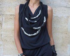 Ähnliche Artikel wie NEUE Kollektion SS/15 Black Extravarant Maxi Dress / Französisch verweilen Baumwolle Reißverschluss Maxi Top mit Taschen von AAKASHA_A03172 auf Etsy