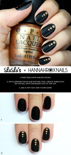 Quick Nail Art Ideas - Black And Gold Dotted Nail - Easy Step by Step Nail Designs With Tutorials and Instructions - Simple Photos Show You How To Get A Perfect Manicure at Home - Cool Beauty Tips and Tricks for Women and Teens Trendy Nails, Cute Nails, Nagellack Design, Black Nail Art, Black Art, Black Polish, Diy Nails Black, Black Nails With Gold, Nagel Hacks