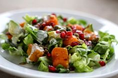 Harvest Salad with Buttermilk Sage Dressing includes roasted butternut squash, pomegranates and avocado and pumpkin seeds A bit out of the ordinary! Harvest Salad, Roasted Butternut Squash, Vinaigrette, Gluten Free Recipes, Salad Recipes, Salads, Good Food, Vegetarian, Sage