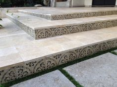West Hollywood Patio custom painted tile steps with artificial turf inserts