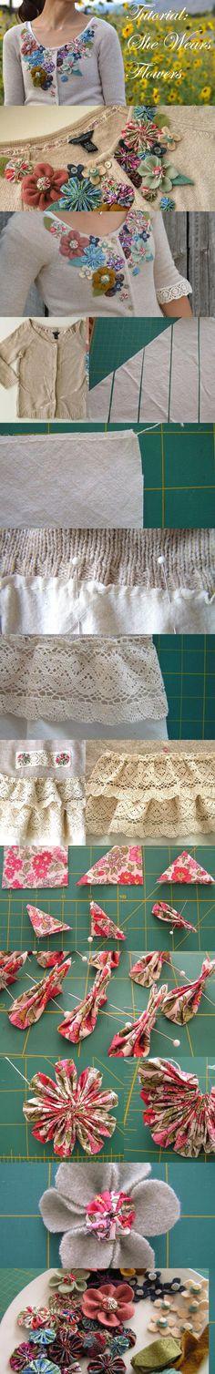 Clothing Refashion — Embellished Flowered Cardigan