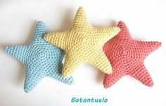 patronestrella Crochet Star Patterns, Crochet Amigurumi Free Patterns, Christmas Crochet Patterns, Crochet Designs, Crochet Daisy, Crochet Stars, Love Crochet, Diy Crochet, Crochet Sea Creatures