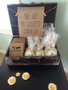 Vintage travel baby shower party favors! See more party planning ideas at CatchMyParty.com!