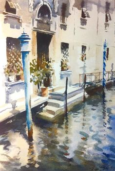 """""""Venetian Doorway"""" front piece for """" Winning with Watercolour / watercolour by Trevor Waugh"""
