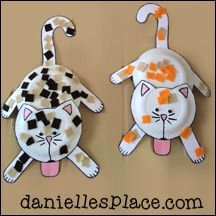 Hanging Paper Plate Cat Craft from www.daniellesplace.com
