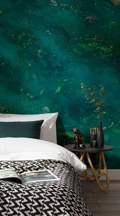21 Stunning and Mesmerizing Turquoise Room Decoration Ideas & Designs - Home Decor Ideas Green Bedroom Design, Bedroom Green, Green Rooms, Green Interior Design, Green Walls, Trendy Bedroom, Modern Bedroom, Emerald Green Bedrooms, Emerald Bedroom