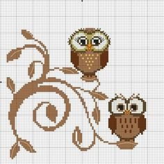 "Fun Little Owls to cross stitch-- they are cute perched on the ""fancy"" branch"