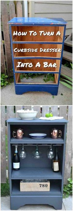 How To Turn A Curbside Dresser Into A Bar - Curbside finds create some of the best makeover opportunities. furniture for bathroom furniture diy furniture before and after furniture upcycling Old Furniture, Refurbished Furniture, Repurposed Furniture, Furniture Makeover, Furniture Ideas, Furniture Online, Furniture Design, Furniture Stores, Outdoor Furniture