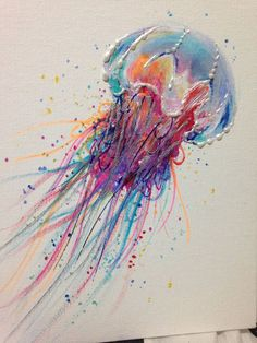 Acrylic Painting Colorful Lion Jellyfish 8 in by LaurenHellerArt,   Even though they terrify me!