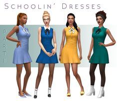 Hi Everyone! Here's Part II! A Sleeveless version of the Schoolin' Dresses. Hope you like them! :3 I've put a lot of love in both of these dresses so enjoy! ❤ I've included a merged file in both SFS links that contains both dresses and all versions....