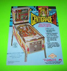 CENTIGRADE 37 By GOTTLIEB 1977 ORIGINAL PINBALL MACHINE SALES FLYER BROCHURE #pinballart #scifipinball #pinballflyer #spaceagepinball #gottliebpinball