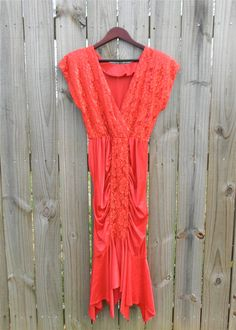 Vintage 80s Red Sexy Lace Gathered Fishtail by PinkCheetahVintage, $29.99