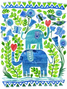 Two Elephants by Tracey English www.tracey-english.co.uk