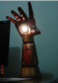 Light The Room With Iron Man's arm lamps, irons, desk lamp, stuff, night lights, iron man, man lamp, desks, ironman