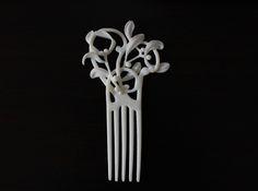 Nouveau Hair Comb Mistletoe 3d printed Art Jewelry