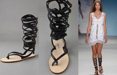 Black Flat Strappy Sandals by Derek Lam | Sandals And Flip Flops