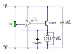 """""""A simple op-amp feedback circuit designed to regulate the speed of a DC motor. Motor Speed, Circuit Design, Diy Electronics, Electrical Engineering, Electric Motor, Arduino, Circuits, Universe, Internet"""