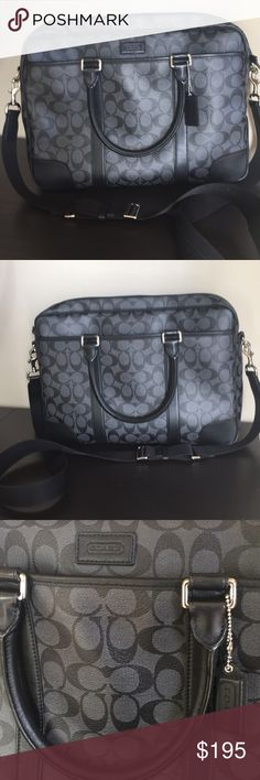 """COACH Unisex Signature Zip Top Briefcase F71168 Authentic Coach Heritage Signature Slim Zip Top  Unisex Briefcase Black / Charcoal Gray/ Silver Coated Canvas with Leather Trim Fabric lining - outside and inside zip pocket Inside slip pockets for cell phone / business cards etc  Long detachable  adjustable strap for shoulder or crossbody wear  Handles have 4"""" drop Easily accommodates a laptop case Measures approx 15.5"""" Lx 11"""" H x 3""""W Style # F71168 Excellent preowned condition Coach Bags…"""