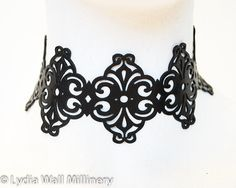 Laser Cut Leather Choker Spirals design in by LydiaWallMillinery, $53.00