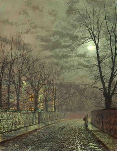 Under the moonbeams, Knostrop Hall by John Atkinson Grimshaw (b. 6 September 1836; Leeds, England – d. 13 October 1893; Leeds, England) Oil on board, 18¼ × 14¼ in. (46.4 × 36.2 cm.) http://www.christies.com/lotfinder/paintings/john-atkinson-grimshaw-under-the-moonbeams-knostrop-4882066-details.aspx https://en.wikipedia.org/wiki/John_Atkinson_Grimshaw