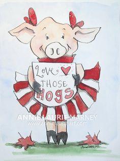"Arkansas Razorback Cheerleader ""Piggie"" - 9x12"" Watercolor Fine Art Print"