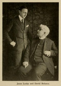 """Jesse Lasky. pioneer moviemaker who cranked out (in 1914) Hollywood's first feature-length film (The Squaw Man) in a barn studio; of a heart attack; in Beverly Hills. After his first movie venture (with a brother-in-law, Glove Salesman Samuel Goldfish, (now Goldwyn) and young playwright Cecil B. DeMille), Lasky joined (in 1916) with Adolph Zukor to form the Famous Players-Lasky Corp., which evolved into Paramount Pictures."""" David Belasco"""