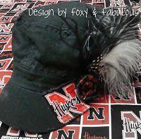 Nebraska Cornhusker military hat with feathers