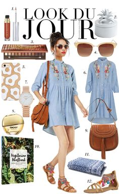 Look Du Jour: Eia popeia. Blue embroidered shirt-dress+brown flat sandals+brown tassel crossbody bag+sunglasses. Summer Casual Outfit 2017