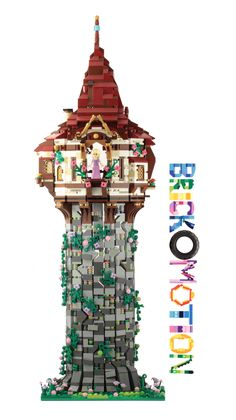 LEGO Rapunzel's Tower (front side) - Modern Lego Disney Castle, Lego Disney Princess, Lego Castle, Disney Tangled, Disney Princesses, Legos, Lego Head, Lego Christmas, Lego Pictures