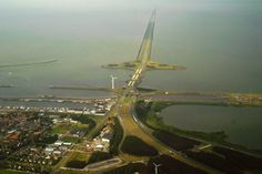 """""""Driving on water"""" on the 32 km long Afsluitdijk, the A7, in The Netherlands"""
